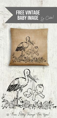 Images: Free Vintage Baby and Stork