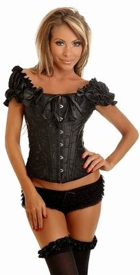 078db1d8ba799 Embroidered Black Peasant Top Corset by Daisy Corsets Embroidered Black  Peasant Top Corset by Daisy Corsets