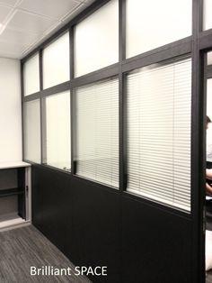 Glass System Wall 專上學阮 (三段,上雙玻璃內置百葉簾,下鐡板屏風) 4
