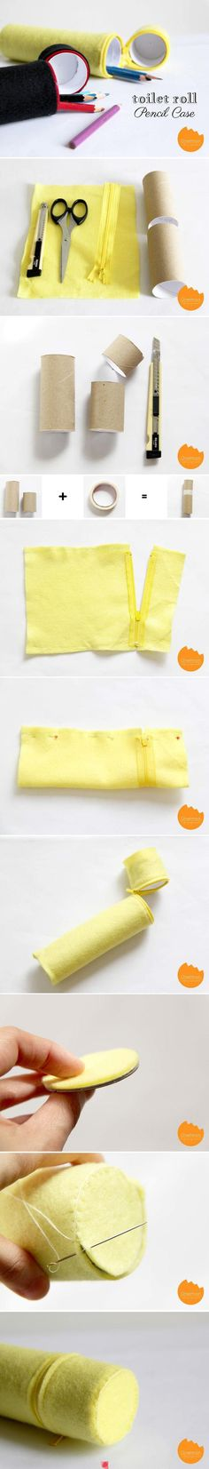 Porta lápis de tubo de papelão/ Recycled toilet paper rolls/ Repurpose into DIY pencil case