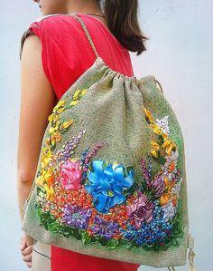 Items similar to Backpack Flower purse flowers vintage needlework backpack on Etsy Flower Bag, Ribbon Work, Ribbon Embroidery, Vintage Flowers, Handicraft, Needlework, Trending Outfits, Textiles, Backpacks