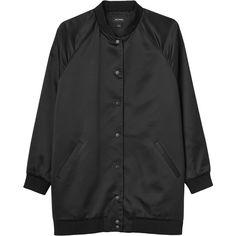 Monki Melinda bomber jacket (4.220 RUB) ❤ liked on Polyvore featuring outerwear, jackets, tops, coats & jackets, black magic, college jackets, oversized jacket, monki, varsity bomber jacket e letterman jackets