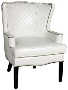 White Quilted Leather Arm Chair | 55DowningStreet.com