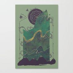 aurora borealis, mist, mountains, circuits, night, stars, geometry, abstract