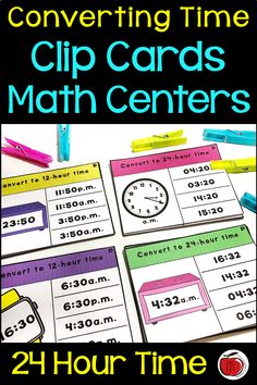 Converting 12 Hour and 24 Hour Time Clip Card Activity Telling Time Activities, Teaching Activities, Teaching Resources, Teaching Ideas, Fifth Grade, Third Grade, Teacher Notebook, Primary Classroom, 5th Grades