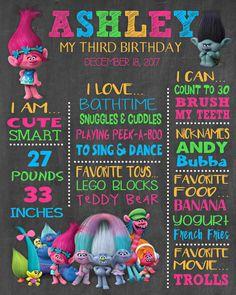 Trolls Personalized Chalkboard Birthday Banner