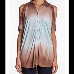48 hour sale..!!! YFB Ombré Top Size XS Ombré jersey, spread collar, v neckline, button front. Dolman half sleeves, draped cold shoulders. Patch pocket on left chest. 100% rayon. Color-coffee/light blue. Ref #1 Young Fabulous & Broke Tops Blouses