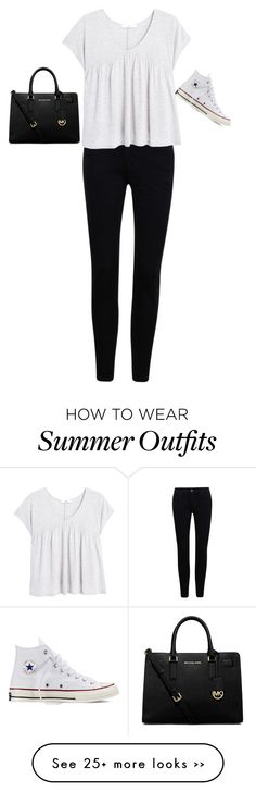 """Casual Black and White Summer Outfit"" by aecheccone on Polyvore featuring moda, MANGO, MICHAEL Michael Kors e Converse"