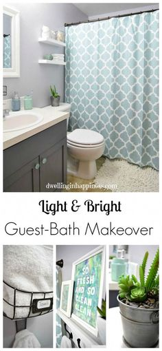 & Bright Guest Bathroom Makeover - The Reveal! Light & Bright Guest Bathroom Makeover - The Reveal!Light & Bright Guest Bathroom Makeover - The Reveal! Grey Bathrooms, Bathroom Renos, Bathroom Ideas, Bathroom Small, Bathroom Gray, Bathroom Makeovers, Bathroom Cabinets, Funny Bathroom, Guest Bathroom Colors