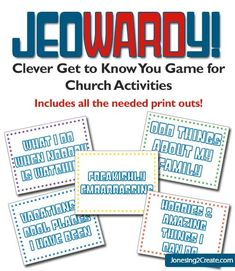 Perfect for church or young women's activity. A great getting to know you game! Jeowardy by olga