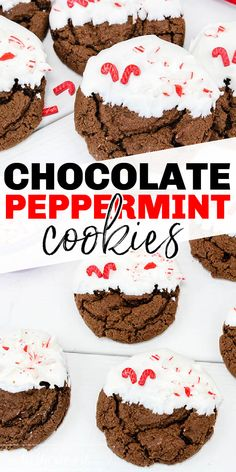 hese Christmas cookies are chewy and delicious. Chocolate and peppermint are the perfect holiday combination. Add on white chocolate and peppermint candies and you've got a great Christmas cookie. #christmasrecipe #christmascookie #cookieswap #peppermintrecipe #peppermintcookie #chocolatechookie #chewychocolate