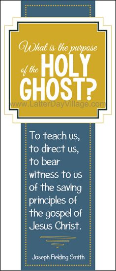 "RELIEF SOCIETY TEACHERS - Have you seen this?  2014 Relief Society lesson aids; Joseph Fielding Smith Chapter 14: ""The Gift of the Holy Ghost"" Downloads for super cute bookmarks, matching lesson helps, and much more! www.LatterDayVill... #LDS #ReliefSociety #JosephFieldingSmith #Mormon"