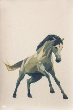 Running Horse, Geometric, Minimal, Animal Print, Wild Horse, Art, A4, A3. $11.00, via Etsy.