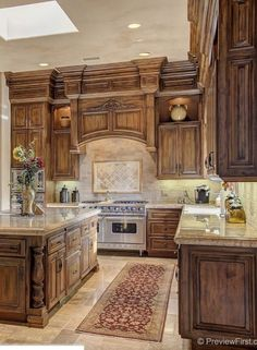 Rustic Tuscan kitchen design is a kitchen style that brings rich warm tones, Rustic cabinetry and Italian architecture together to create a gorgeous space. 29 Lovely DIY Rustic Kitchen plans you should create for your home Luxury Kitchens, Home Kitchens, Tuscan Kitchen Design, Colonial Kitchen, Rustic Kitchen Cabinets, Kitchen Rustic, Mediterranean Kitchen Cabinets, Kitchens With Dark Cabinets, Stained Kitchen Cabinets
