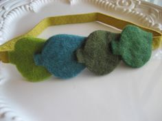 Felted Leaf Elastic Headband Green Felted Leaves by lewisandbucky, $18.00
