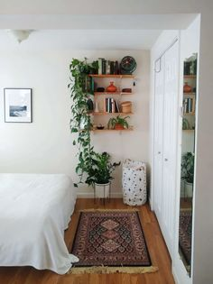 Check out this Welcoming, Functional Small/Cool Space Small Apartment Bedrooms, Small Apartment Interior, Small Apartment Decorating, Apartment Living, Apartment Therapy, Room Ideas Bedroom, Bedroom Decor, Comfy Bedroom, Cool Apartments