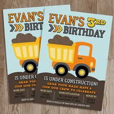 Construction Birthday Party Invitation Printable | Construction Birthday Party Theme | #construction #dumptruck #dump #truck #birthday #boy #party #invitation #design #diy #celebrate #poshlittledesignshop