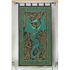 This stunning twin size tapestry, tablecloth or bedspread features a Celtic Dragon in shades of teal green with a border of Celtic Knots. Celtic Dragon, Celtic Art, Steampunk Bedroom, Goth Jewelry, Shades Of Teal, Green Dragon, Gothic Outfits, Tapestry, Wall Tapestries