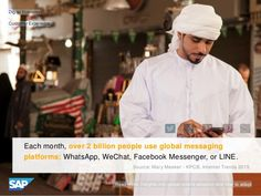 Monthly, 2 billion+ people use msg platforms: WhatsApp, WeChat, Facebook Messenger or LINE