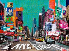 Sandra Rauch, NYC get together, 2012 / 2013 © www.lumas.de/ #LumasAmerika,  Auto,  Autos,  Bauwerk,  Bauwerke,  bunt,  Collage,  Collagen,  Fotografie,  Gebäude,  Gemälde,  Graffiti,  Großstadt,  Großstädte,  Hotel,  Hotels,  Leuchtreklame,  Leuchtreklamen,  Malerei,  Manhattan,  Metropole,  Metropolen,  mixed media,  Motel,  Motels,  New York,  Reklame,  Stadt,  Städte,  Star,  Stars,  Straße,  strassen,  Taxi,  Taxis,  USA,  Werbung
