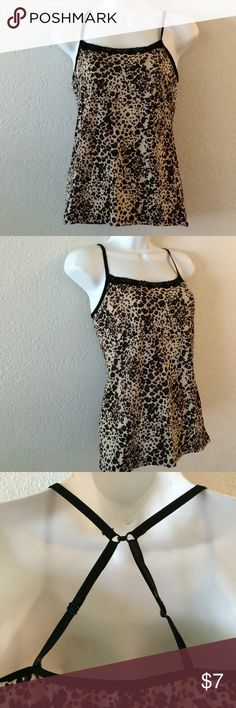 Leopard Nylon Camisole Size m .  Nylon camisole . T- hook strap I back for tank top or regular straps . No flaws . No tears or stains . Wrapped and shipped with care Tops Camisoles