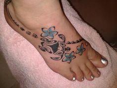Hawaiian Flowers Turtle Tattoo On Right Foot For Girls