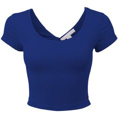 LE3NO Womens Lightweight Open Back Scoop Neck Crop Top with Stretch ($5.20) ❤ liked on Polyvore featuring tops, shirts, crop tops, t-shirts, open back top, cotton crop top, blue short sleeve shirt, layered tops and blue shirt