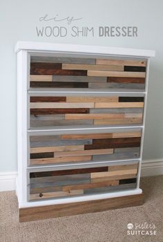 DIY Wood Shim Dresser Stained in Different Color Stains... West Elm Style