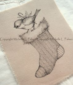 Larger Size Original Pen Ink on Fabric Illustration Quilt Label by Michelle Palmer Christmas Stocking Feathered Friend Chickadee Candy Bird November 2016