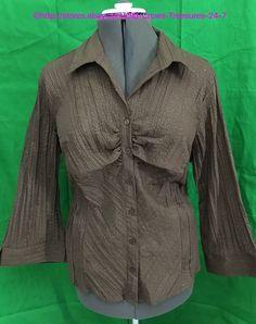 Women's Manhattan Girl Brown Button Up Blouse Size 20W | eBay
