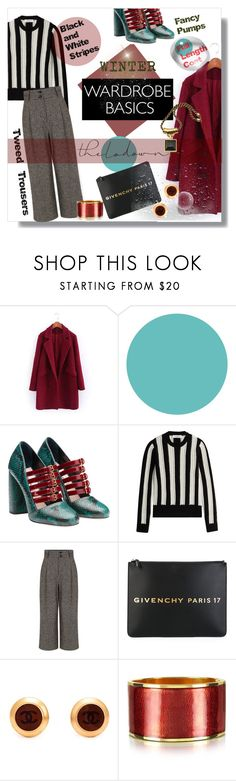 """""""Winter Wardrobe Basics"""" by mponte ❤ liked on Polyvore featuring Wall Pops!, Miu Miu, Valentino, Pink Tartan, Givenchy, Chanel, Dsquared2 and Alexander McQueen"""