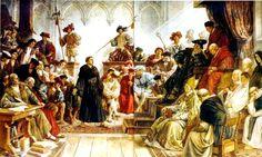 """Eck, kanselier van Trier: """"Ik vraag u, Martinus een kort en zakelijk antwoord, denkt gij dat gij  alleen recht hebt en dat de bisschoppen hebben gedwaald ?""""  Dr. M. Luther: """"Ja, ze hebben gedwaald. in veel opzichten. Ik kan het bewijzen, God helpe mij, Amen. -Hier sta ik, ik kan niet anders""""  (P.Melanchton)"""