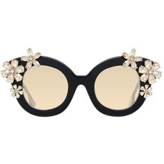 1ffbdef0a56 Alice + Olivia Madison Cat Eye Floral Embellished Sunglasses (£465) ❤ liked  on Polyvore featuring accessories