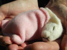 Needle Felted Sleeping Baby Lop Eared Bunny by MrsPlopsShoppe, £19.50