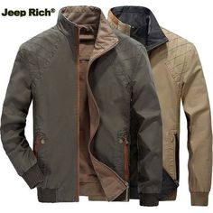 Jeep Rich Mens Casual Reversible Stand Collar Jacket Plus Size Spring Autumn Cotton Coat at Banggood