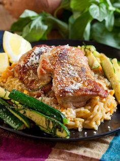 Chicken Thighs with Sweet Potato Orzo Risotto and Zucchini
