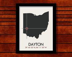 Dayton Latitude Longitude Map Art City Print 11 by MrCityPrinting, $25.00