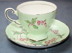 """Vintage Tuscan China Tea Cup and Saucer """"Hearts & Arrows"""" - Made in England"""