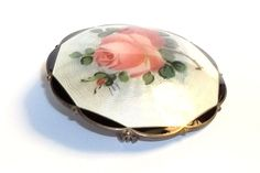 O.F. Hjortdahl Norway Sterling Enameled Brooch with Rose from thevintagejewelrycollection on Ruby Lane
