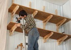 Way-up-high cantilevered garage shelves – Wall Products Garage Storage Shelves, Lumber Storage, Crate Shelves, Garage Shelf, Built In Storage, Lumber Rack, Pipe Shelves, Floating Shelves, Wooden Shelf Design