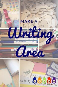 Make a writing area to promote and inspire writing and mark making! Develop fine motor skills and a love of writing in the EYFS. Name Writing Activities, Motor Skills Activities, Educational Activities, Preschool Activities, Writing Area, Writing Table, Mark Making Early Years, Homeschool Supplies, Learning The Alphabet