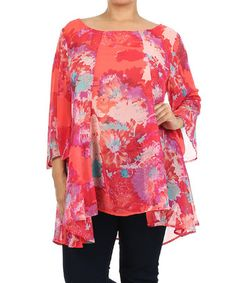 Love this Red & Coral Floral Tunic - Plus by Come N See on #zulily! #zulilyfinds