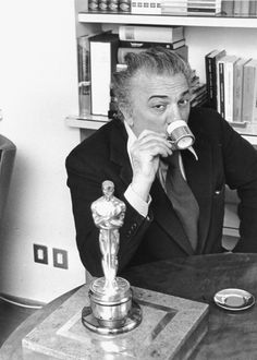 "4/10/14 6:00p The Academy Awards 1958: Director Federico Fellini Best Foreign Film Oscar for ""The Nights of a Cabiria'' Italy 1957"