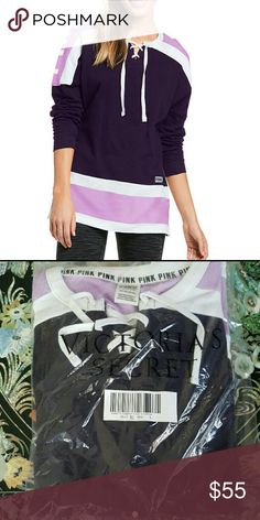 NWT VS PINK VARSITY LACE UP CREW NEW IN PACKAGING (online order S) NEW WITH TAGS (LARGE)  COLOR: PURPLE AND LAVENDER TRIMMED IN WHITE  This cozy style features an oversized fit and longer, tunic length.  Oversized Crew neckline Longer, tunic length Imported cotton/polyester Smoke/pet free home.  Thanks for looking!  Feel free to check out my closet for bundling discount. PINK Victoria's Secret Tops Sweatshirts & Hoodies