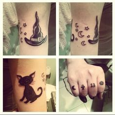 tattoos: witch hat, black cat, pentacle, 13, wicca, ankh, moon, fingers tattoos. By: Mauricio Bastos (Brasília)