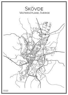 Skövde. Sverige. Karta. City print. Print. Affisch. Tavla. Tryck.