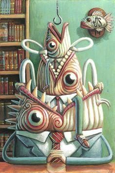 Solo son peces con jerarquías Acrílico sobre cartón/ 2014 16 x 24 cm   They are just fish with hierarchies  Acrylic on cardboard / 2014  16 x 24 cm