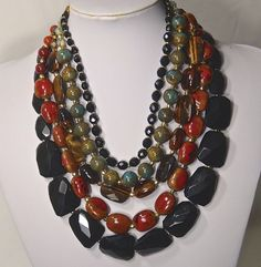 Jose & Maria Barrera Chunky Multi-Stone Necklace - Gorgeous 5 Strand Statement  #Barrera #Statement