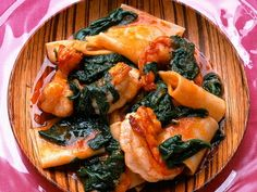 Prawns with Spinach and Handkerchief Pasta (lasagna noodles)