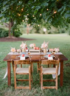 Outdoor peach inspired table